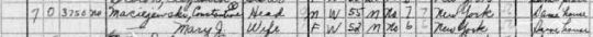 1940 Constantine and Mary Maciejewski census