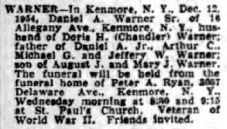 1954 Daniel Warner death notice