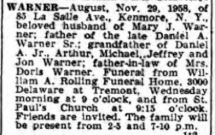 1958 August Warner obit Buffalo NY Courier Express