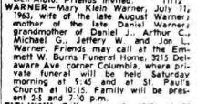 1963 Mary Warner obit Buffalo NY Courier Express
