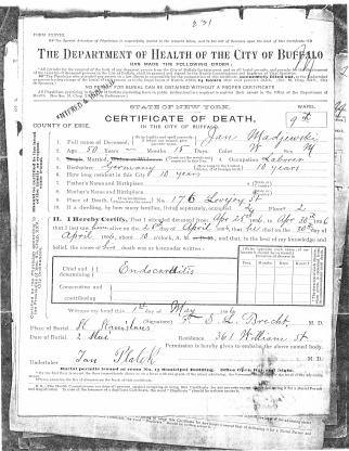 1896 Jan Maciejewski Death Certificate