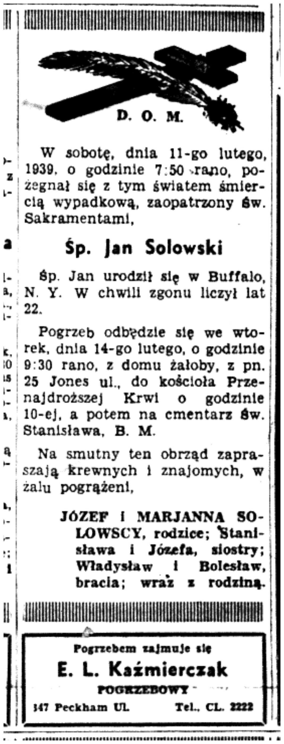 1939 Jan Solowski 11 Feb Dziennik