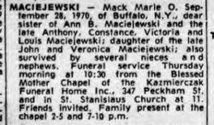 1970 Mack Marie O obit 9-30 Courier Express