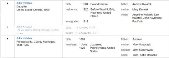 1920 Julia Kwiatek familysearch