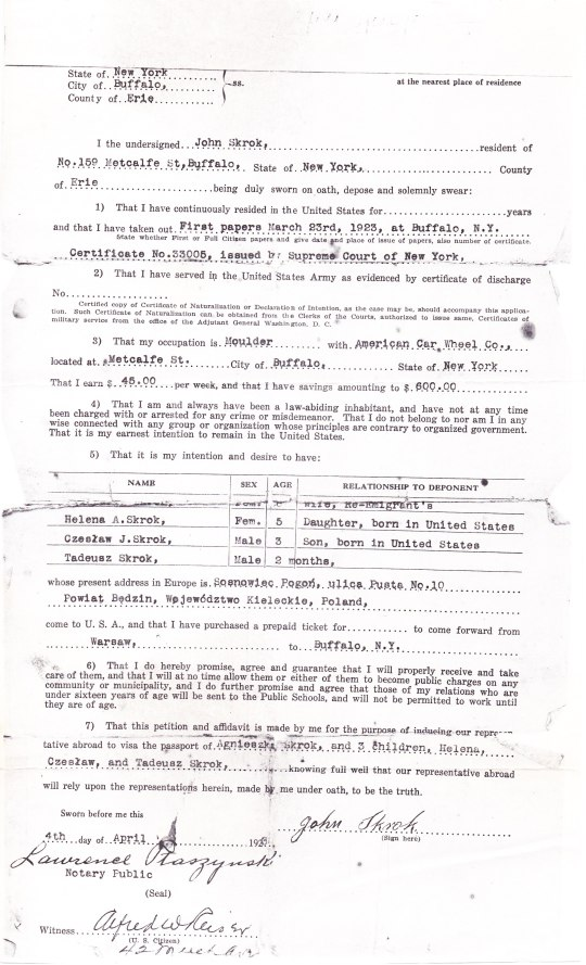 1923 John Skrok first papers application