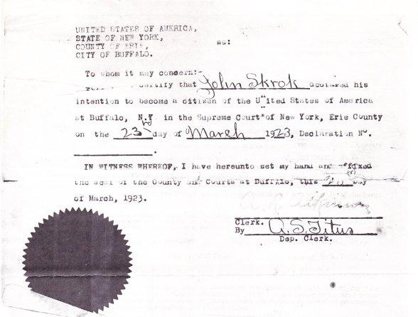 1923 John Skrok first papers