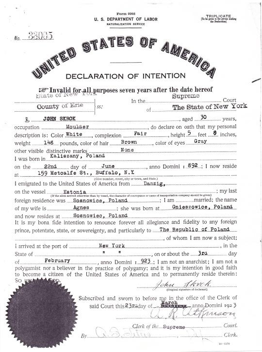 1923 John Skrok declaration