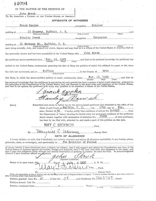 1930 John Skrok affidavit