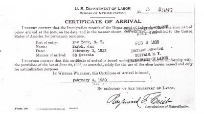 1930 John Skrok certif arrival