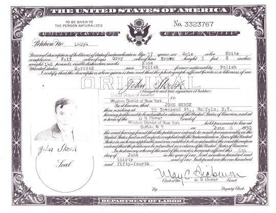 1930 John Skrok naturalization certificate