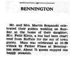 1928 Bennington news Szczepanski golden wedding