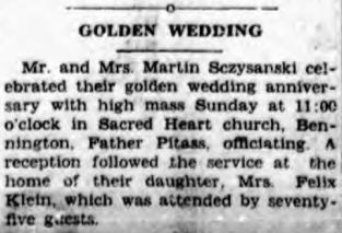 1928 Bennington Szczepanski golden wedding