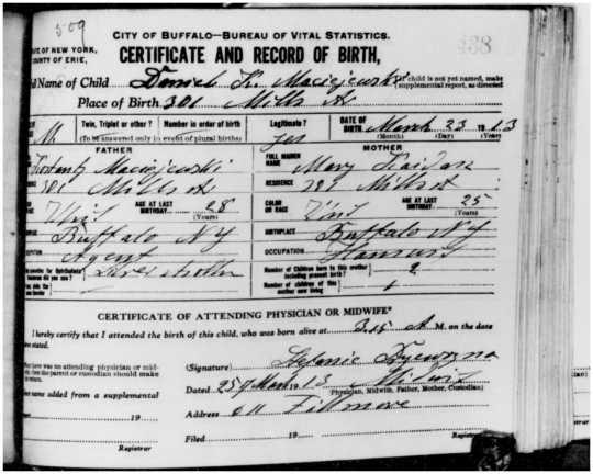 1913 Daniel K. Maciejewski birth