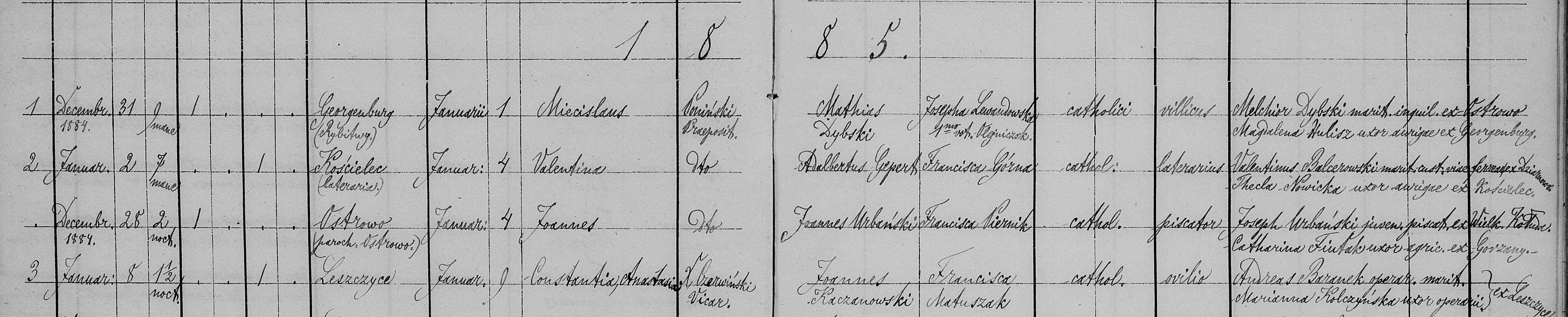 1885 Kaczanowska baptisms