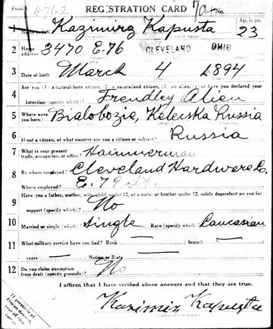 1918 Kapusta WWI draft cropped