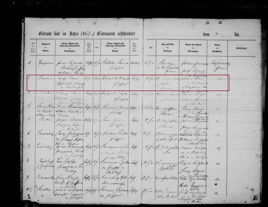 1877 Klein Osmila marriage marked