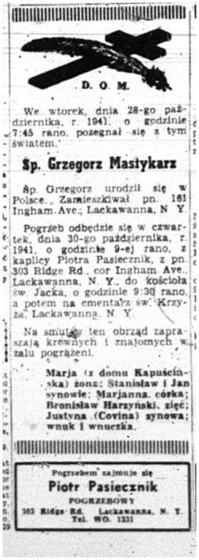 1941 Grzegorz Mastykarz 29 Oct Dniennik