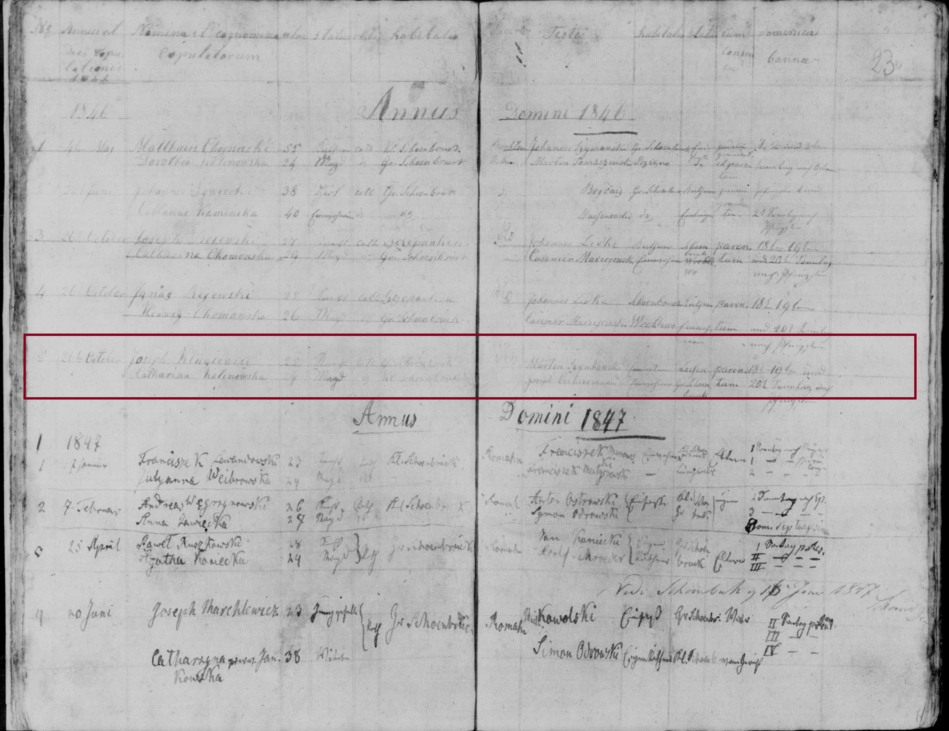 1846 Klugiewicz Kalinowska marriage marked