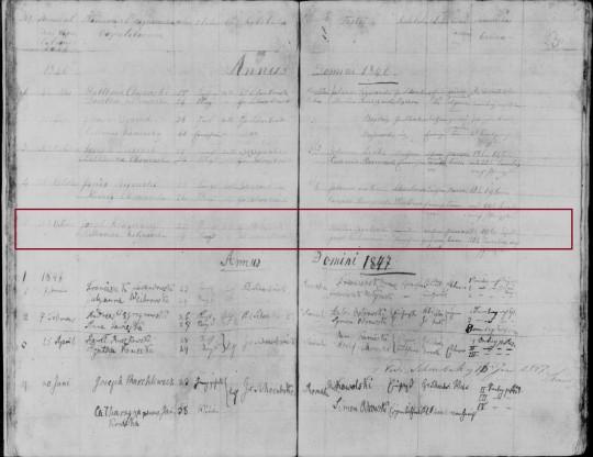 1846 Klugiewicz Kalinowska marriage marked